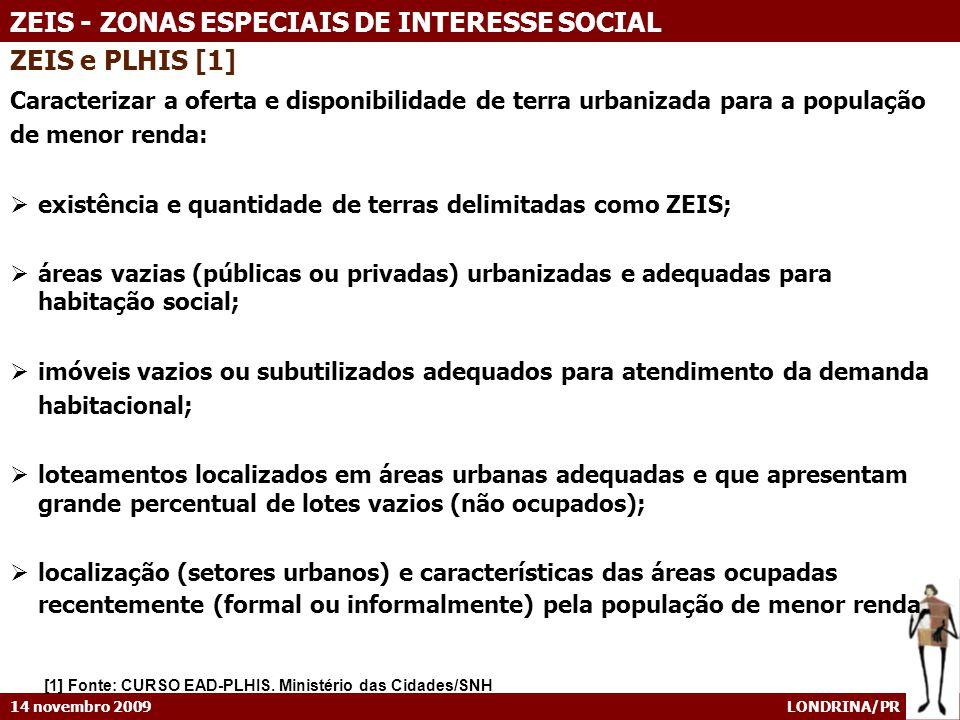 ZEIS e PLHIS [1] Caracterizar a oferta e disponibilidade de terra urbanizada para a população. de menor renda: